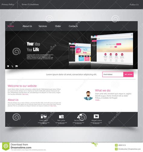 website design template with ui elements kit flat design
