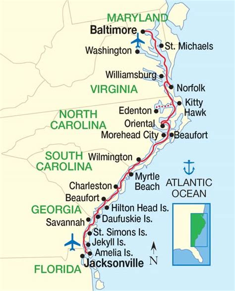 map us east coast beaches east coast inland passage baltimore to jacksonville