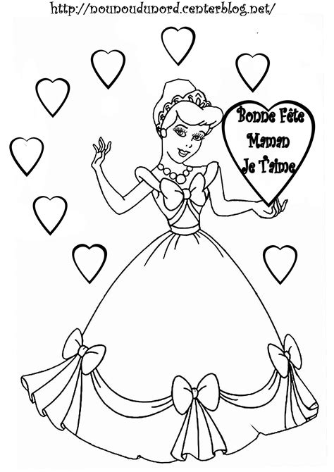 Coloriage cendrillon bonne fête maman