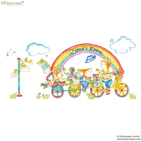 rainbow wall stickers uk personalised rainbow bike wall sticker stickerscape uk
