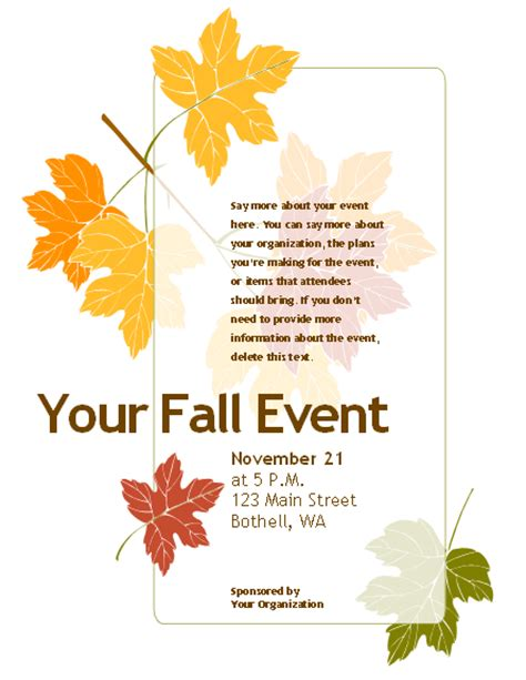 8 best images of free printable fall flyer templates