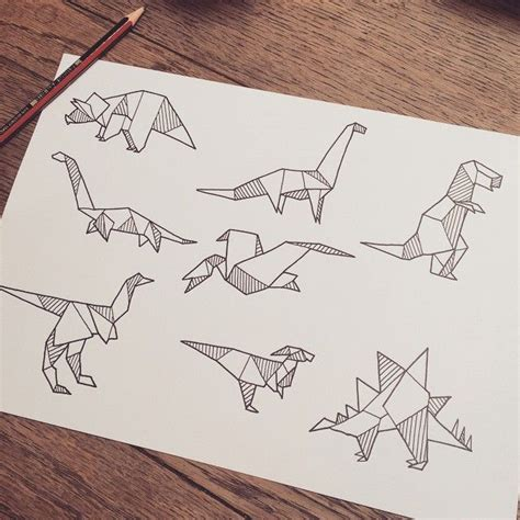 origami dinosaur sketch search decor