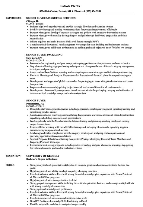 senior buyer resume sle senior buyer resume sles velvet