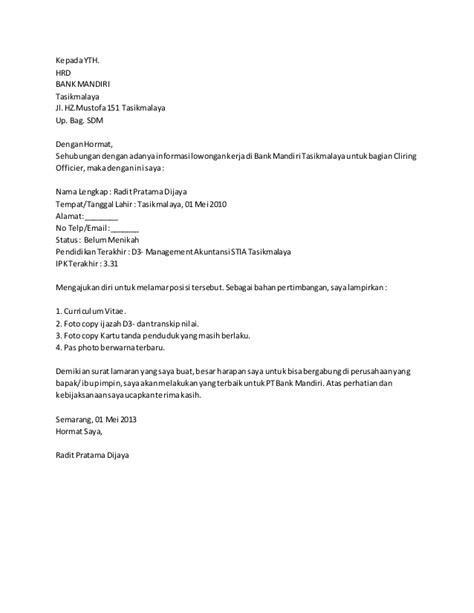 contoh surat lamaran kerja frontliner bank mandiri contoh surat lamaran bank mandiri http contohsurat