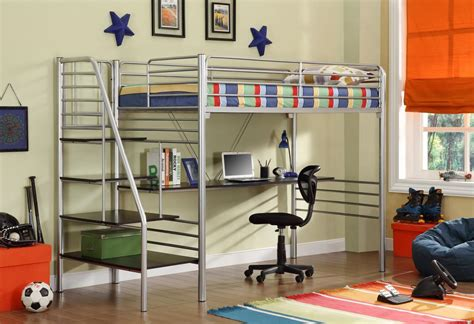 donco silver metal bunk beds  desk  stairs kfs stores