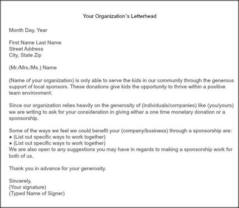 Fundraising Letter Salutation how to get team sponsorships sportsmomsurvivalguide