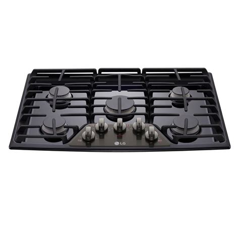 black gas cooktops lg electronics 30 in gas cooktop in black stainless steel