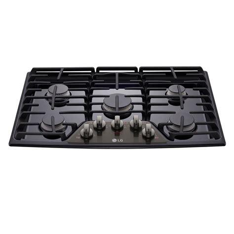 5 burner cooktop lg electronics 30 in gas cooktop in black stainless steel