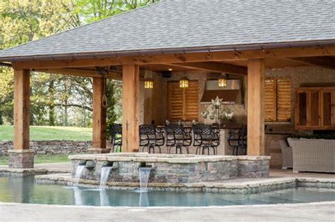 pool house with bar rustic mississippi pool house landscaping network