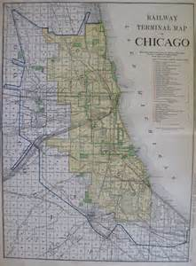 vintage chicago map map of chicago w railroads stunning 1921 by plaindealing