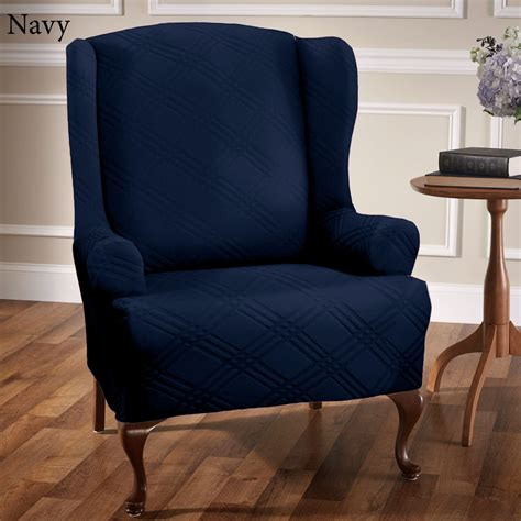 wing armchair covers navy wing chair slipcover chairs seating