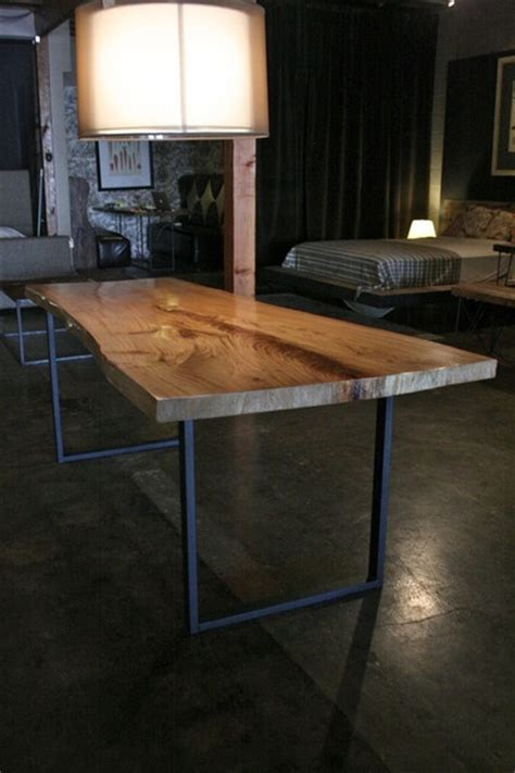 Wood Table With Metal Legs by Greenly Live Edge Reclaimed Wood Table With Metal Legs