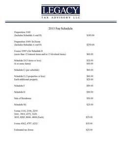 tax advisory fee schedule