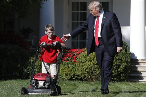 the white house boys trump invites 11 year old boy to mow rose garden lawn