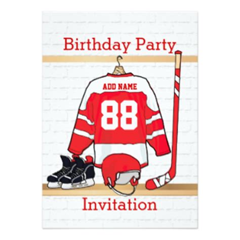 Hockey Birthday Card Template by 2 000 Hockey Invitations Hockey Announcements Invites