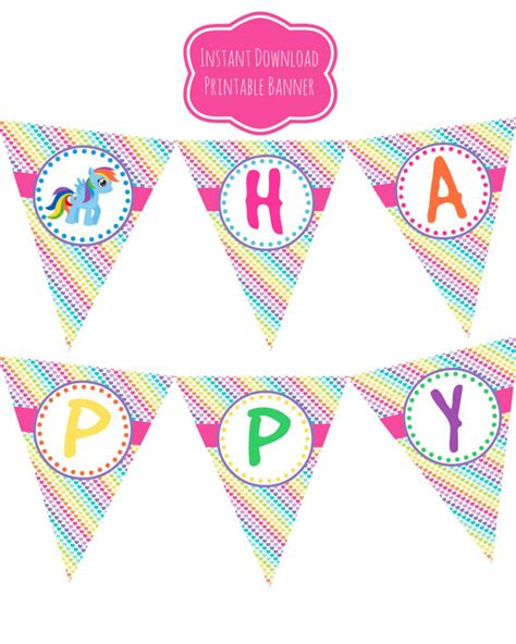 Free Printable My Little Pony Happy Birthday Banner   7 best images of my little pony birthday printables my