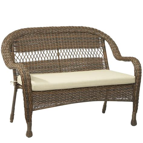 outdoor wicker loveseat hton bay mix and match brown wicker outdoor stack