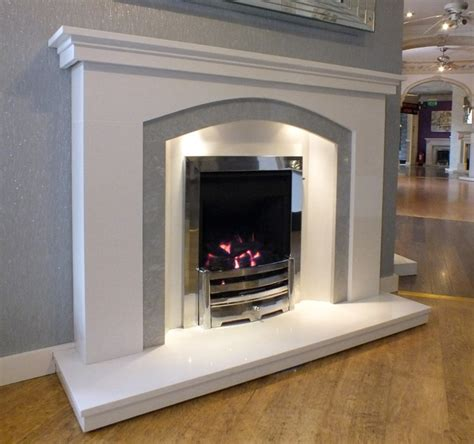 fireplace lights dovetail arch white grey marble fireplace with lights