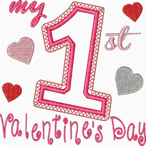 1st valentines day my s day embroidery applique design