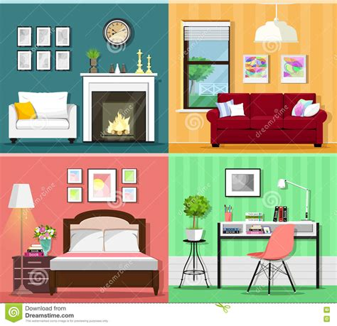 set of colorful graphic room interiors with furniture