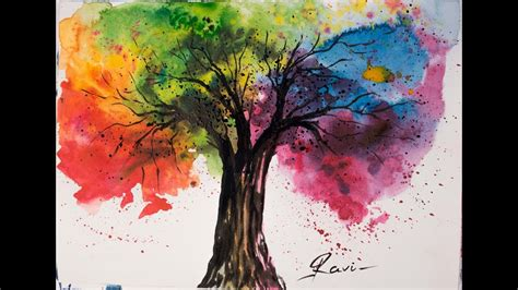water color tree rainbow tree watercolor painting