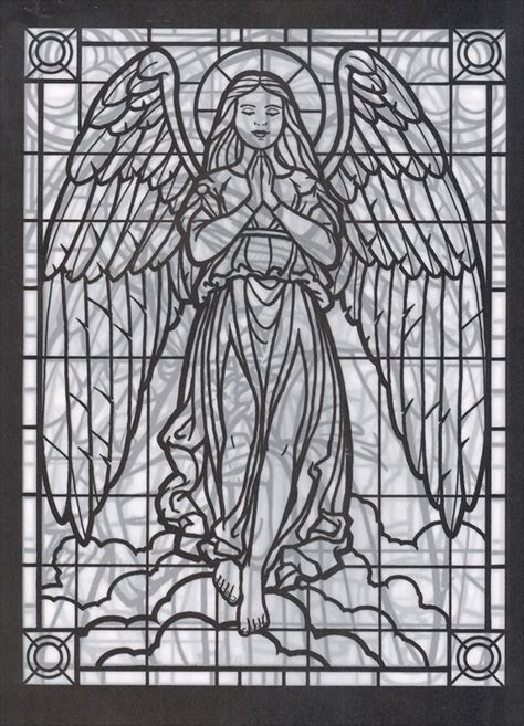 Amazing Angels Stained Glass Coloring Book 051054 Stained Glass Coloring Pages For Adults
