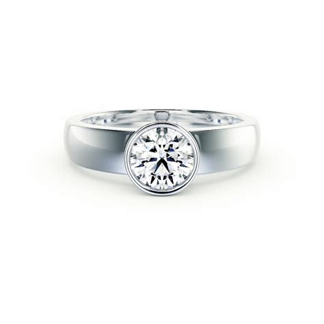 Bezel Set Engagement Rings by Bezel Set Engagement Ring In 14k White Gold