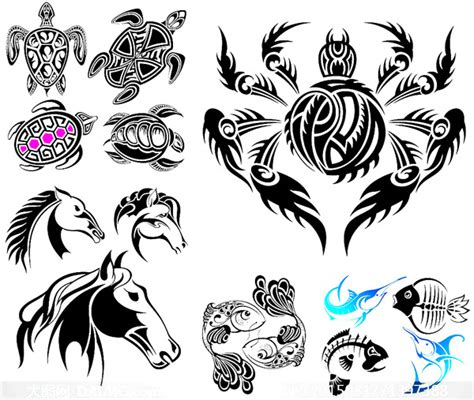 纹身刺青图案设计矢量图 动物矢量图 三联