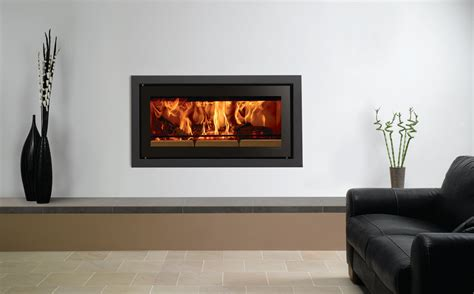 A Frame Home Interiors studio profil inset wood burning fires stovax fires