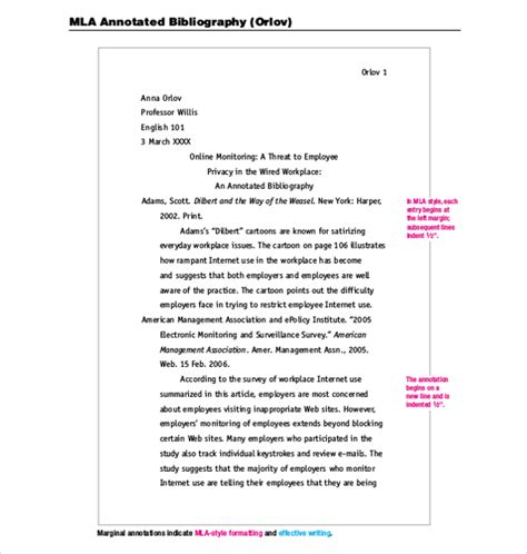 Mla Annotated Bibliography Template 10 Free Word Pdf Documents Download Free Premium Microsoft Mla Template