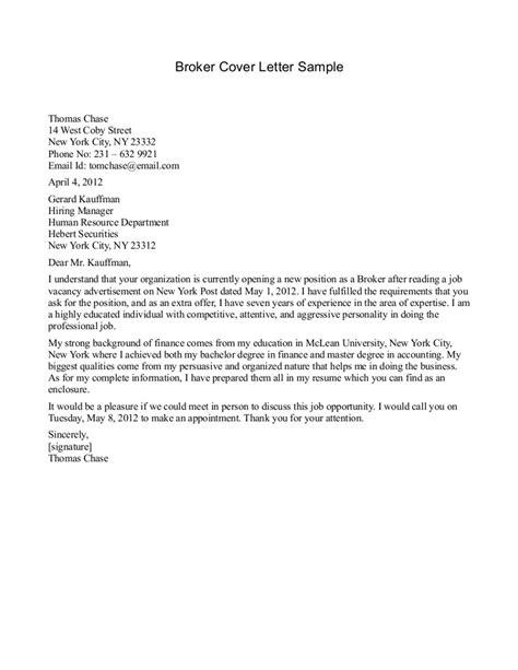 Broker Cover Letter Sample insurance job cover letter sample