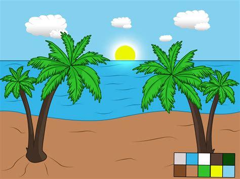 como dibujar  paisaje de playa  pasos  fotos