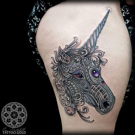mosaic tattoo mosaic unicorn on thigh best design ideas