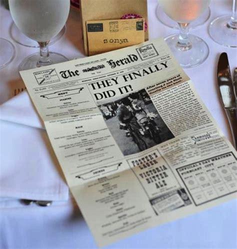 design ideas newspaper cute table menu ideas for your wedding