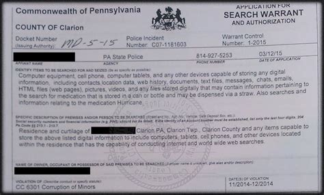 Pennsylvania Warrant Search Search Warrant Executed At Home Of Nc Accused Of
