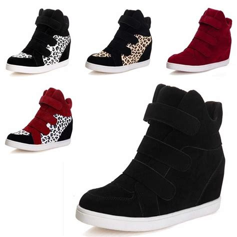 velcro wedge sneakers s booties high top wedge heel tennis flats shoes