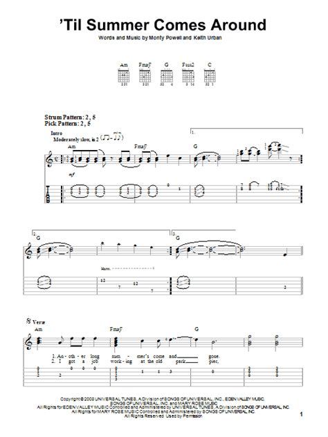 keith urban songs guitar chords keith urban til summer comes around easy guitar tab