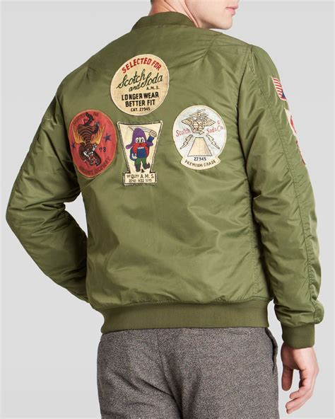Patched Bomber Jacket lyst scotch soda patched bomber jacket in green for