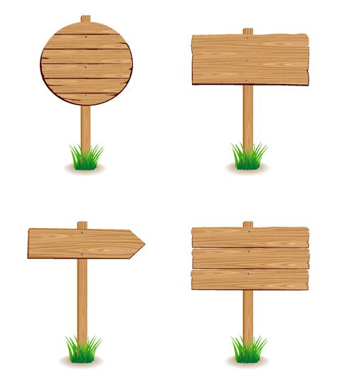 design background signboard wooden signboard with grass free vector 4vector