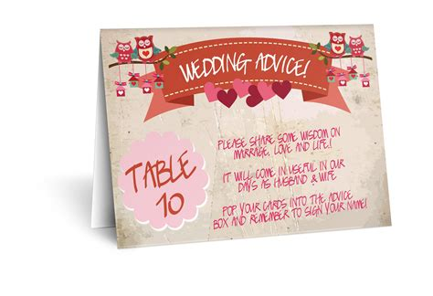 Wedding Advice Cards by Breakers For Reception Tables And Wedding Advice Cards