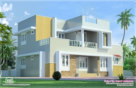 Beautiful 2 floor villa elevation in 1400 sq.feet Kerala home design and floor plans