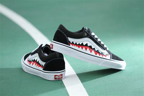 Vans Oldskool Bape White Shark Mouths vans x bape 17ss shark mouths tooth black skool skate