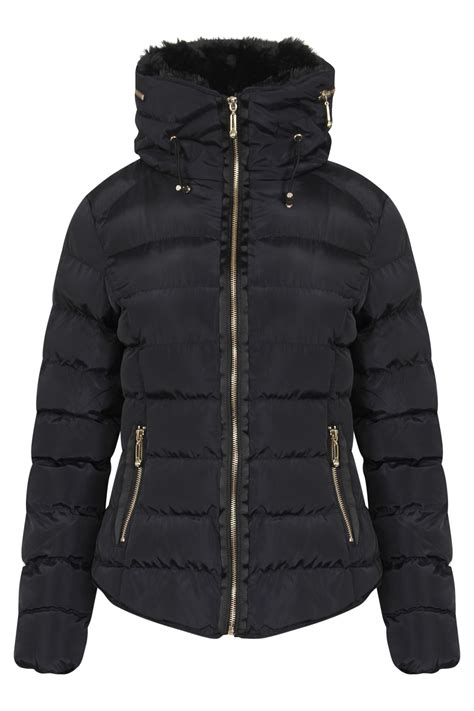 Winter Proof Your New Buys by New Womens Fur Faux Padded Collar Quilted Winter Proof