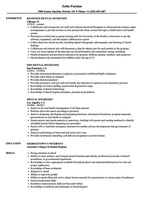 dental hygienist resume sle dental hygienist resume