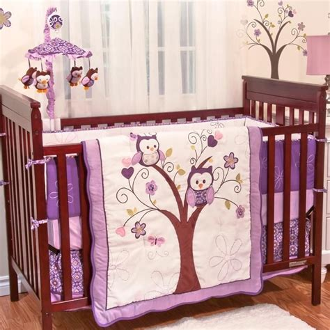 Crib Bedding Sets 2018 Mini Baby Nusery Crib Bedding Purple Owl Crib Bedding