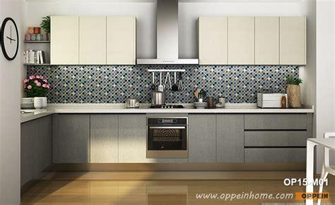 Melamine Kitchen Cupboards - modern melamine kitchen cabinet in white grey color op15