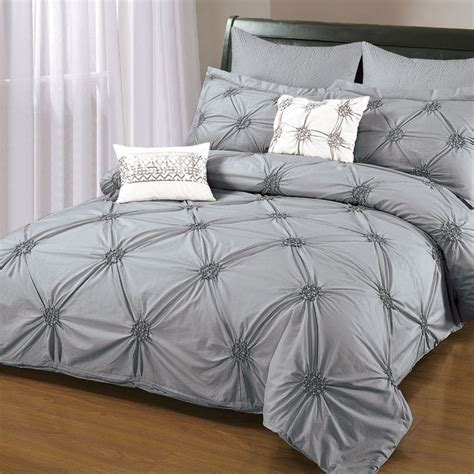 ruched bedding 6 piece ruched embroidered duvet cover set in gray item