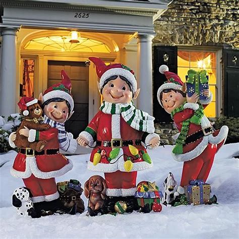 set of three fiber optic elves outdoor christmas