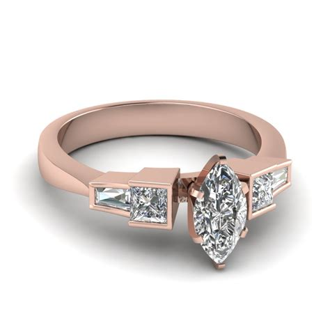Art Deco Baguette Marquise Diamond Engagement Ring In 14K