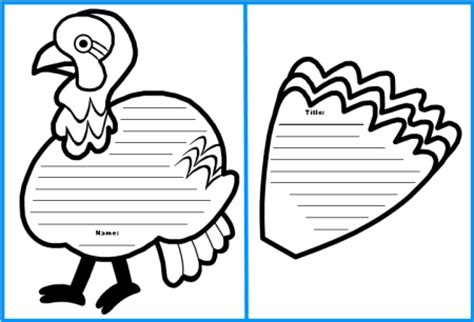 Turkey Writing Template thanksgiving teaching resources and lesson plans
